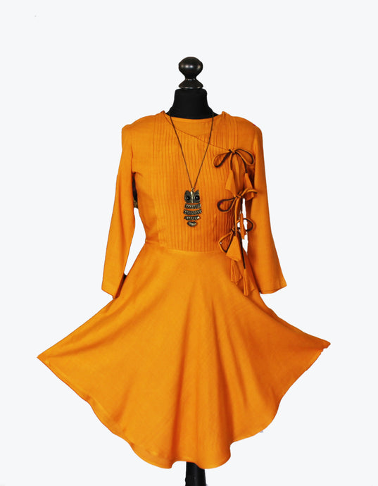 Angrakha tunic in yellow