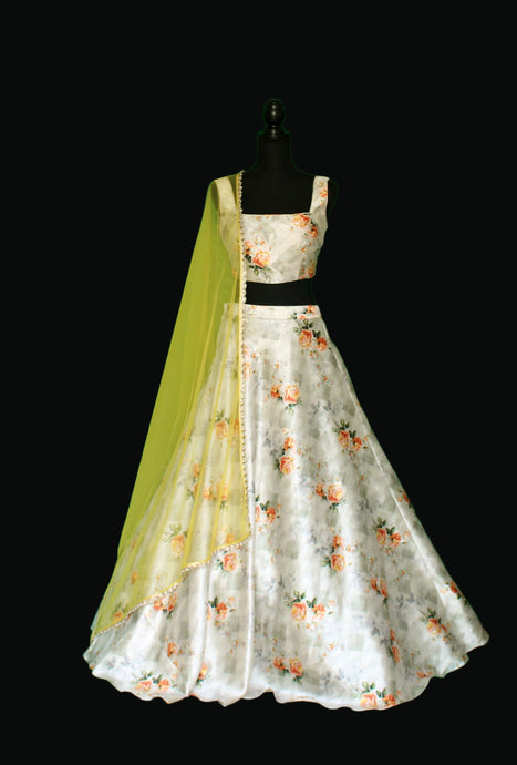 Vintage Floral Romance on Ivory Beige base Lehenga Set in Silk