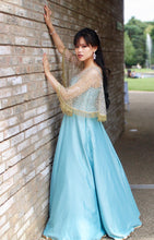 Load image into Gallery viewer, Gown in Sea Green with embellished Cape