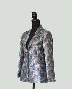 Single Breasted Silk Blazer with peacock patterns