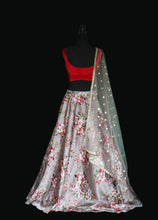 Load image into Gallery viewer, Multicolored printed satin in fresh florals with a cowl neck satin blouse Lehenga Set