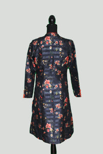 Floral Navy Long Coat in Silk