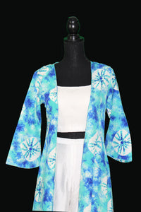 Printed crepe jacket  with white sequin embellished blouse and sharara pants