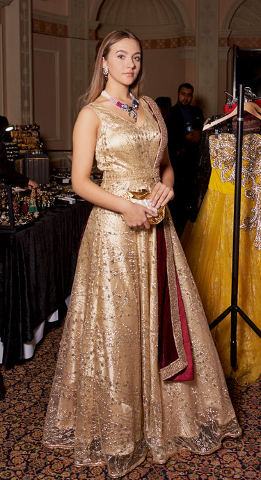 Golden Embellished Gown with Stole
