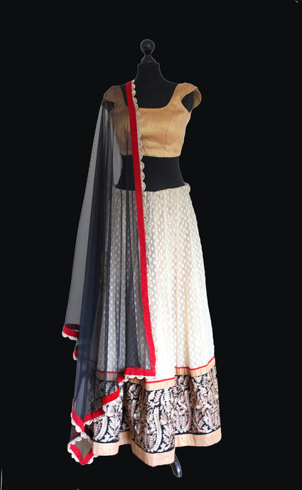 Gold and White Lehenga Ensemble