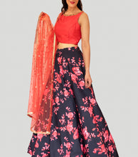 Load image into Gallery viewer, Red blooms on Black Satin Floral Lehenga Set