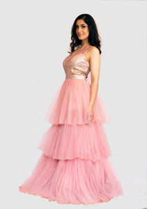 Light pink, embellished (3-tier) Flare gown