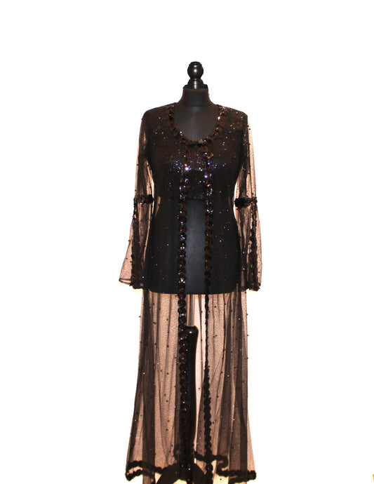 Sequin and Black Pearl embellished Cape with sequined blouse and silk trousers