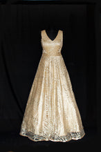 Load image into Gallery viewer, Golden Embellished Gown with Stole