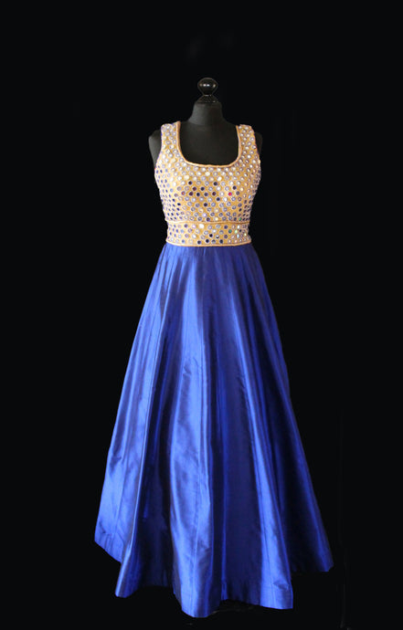 Bedazzling Mirror Work Gown