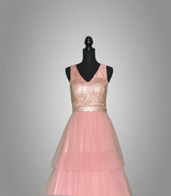 Load image into Gallery viewer, Light pink, embellished (3-tier) Flare gown