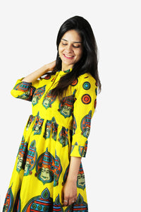 Yellow tunic with authentic prints