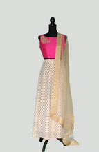 Load image into Gallery viewer, Ivory and Fuschia tinted crop top and Palazzo Set