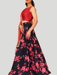 Red blooms on Black Satin Floral Lehenga Set