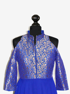 Royal Blue Jacquard and frothy Georgette