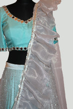 Load image into Gallery viewer, Crystal embellished Lehenga Choli with a ruffle detailed veil