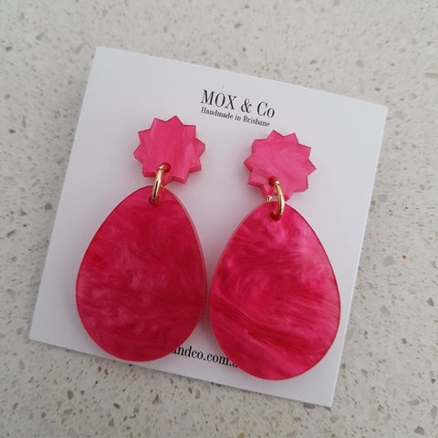 Mox & Co Oval Dangles - Pink Marble