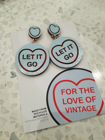 FTLOV - Let It Go - Candy Heart Earrings - Pastel Blue