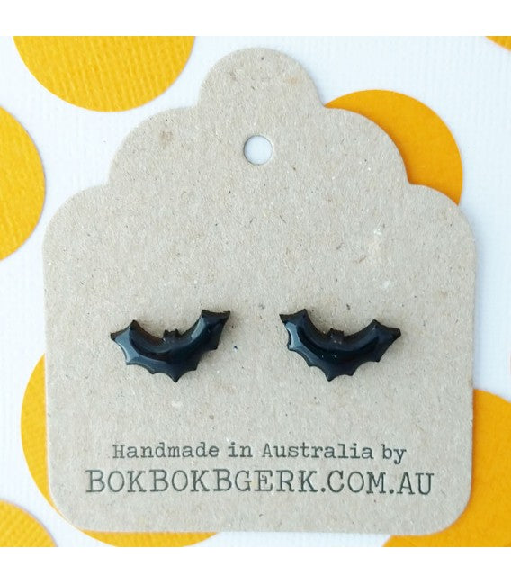 Bok Bok B'Gerk Halloween Bat Earrings