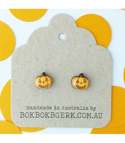 Bok Bok B'Gerk Halloween Jack O'Lantern Earrings