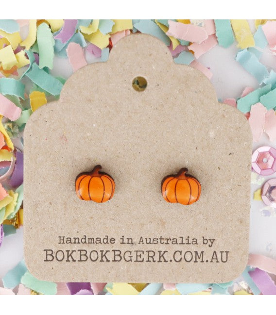 Bok Bok B'Gerk Pumpkin Dog Earrings
