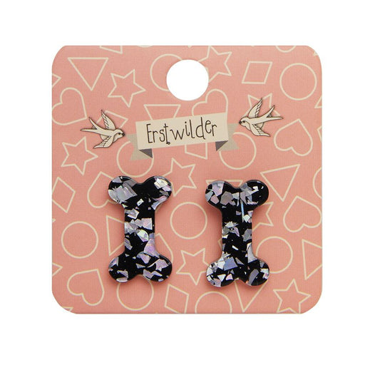 Erstwilder Essentials Bones Earrings - Silver Glitter