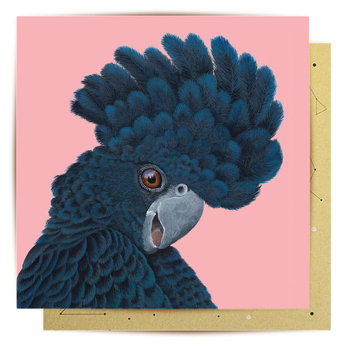 La La Land Greeting Card Black Cockatoo