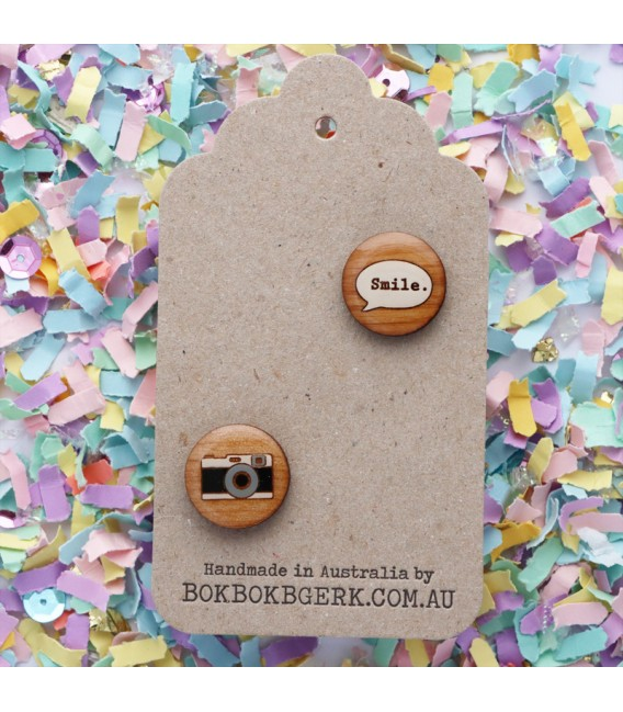 Bok Bok B'Gerk Camera Smile Cufflinks