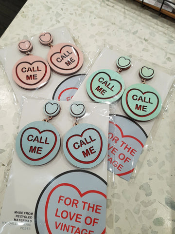 For The Love Of Vintage Call Me - Candy Heart Earrings
