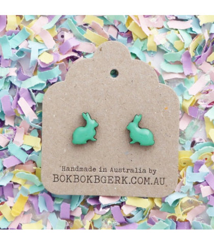 Bok Bok B'Gerk Rabbit Earrings - Teal