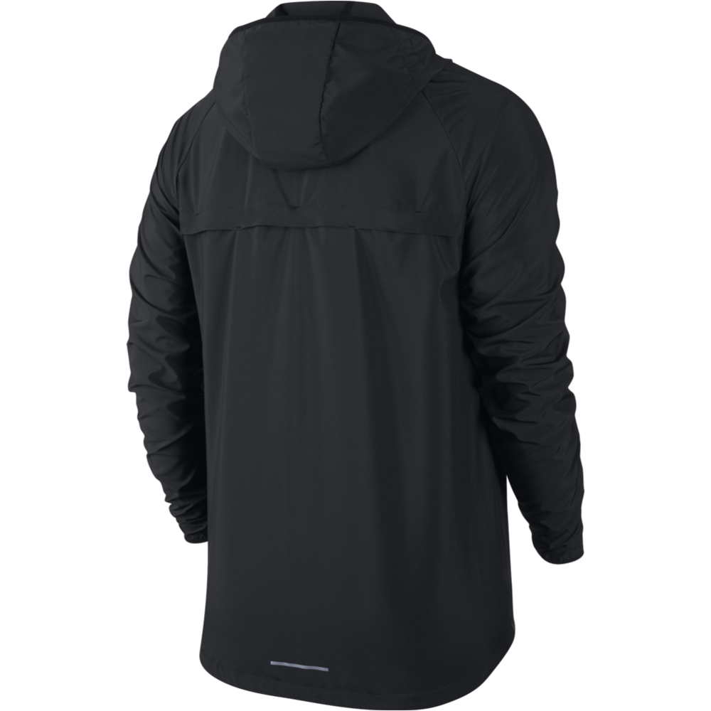Mens Essential Hooded Running Jacket - BLACK