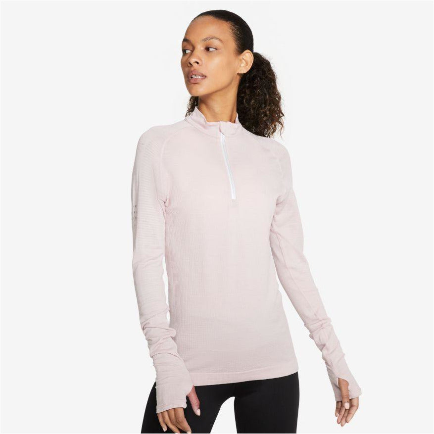 Women's Run Division 1/2-Zip Wool Running Top - Stone Mauve