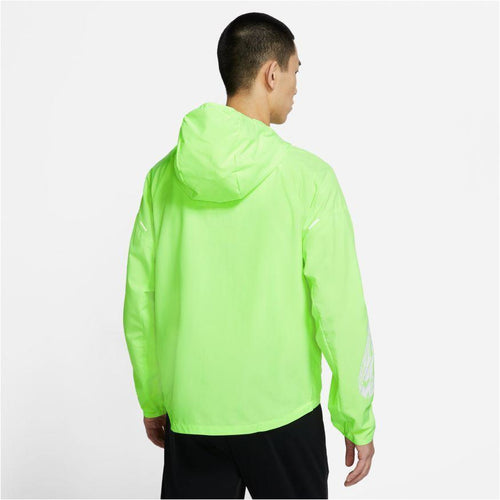 Mens Essential Wild Run Running Jacket - Ghost Green