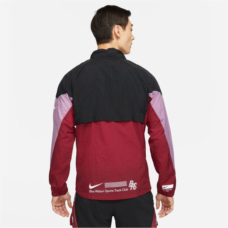 Mens Windrunner BRS Running Jacket - Black/Team Red
