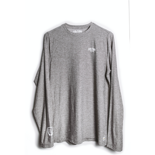 Mens Culture x Vuori Strato Tech Tee Long Sleeve - Heather Grey