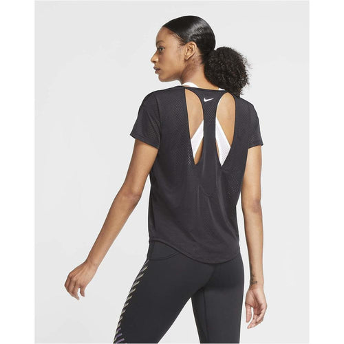 Womens Short-Sleeve Running Top - Black