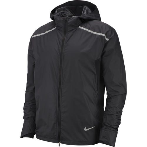 Mens Repel Hooded Running Jacket - Black