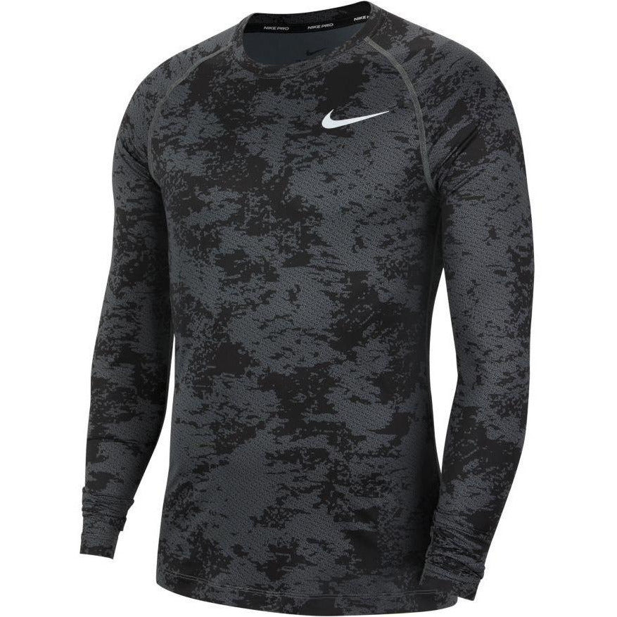 Mens Pro Long-Sleeve Camo Top - Iron Grey/Black