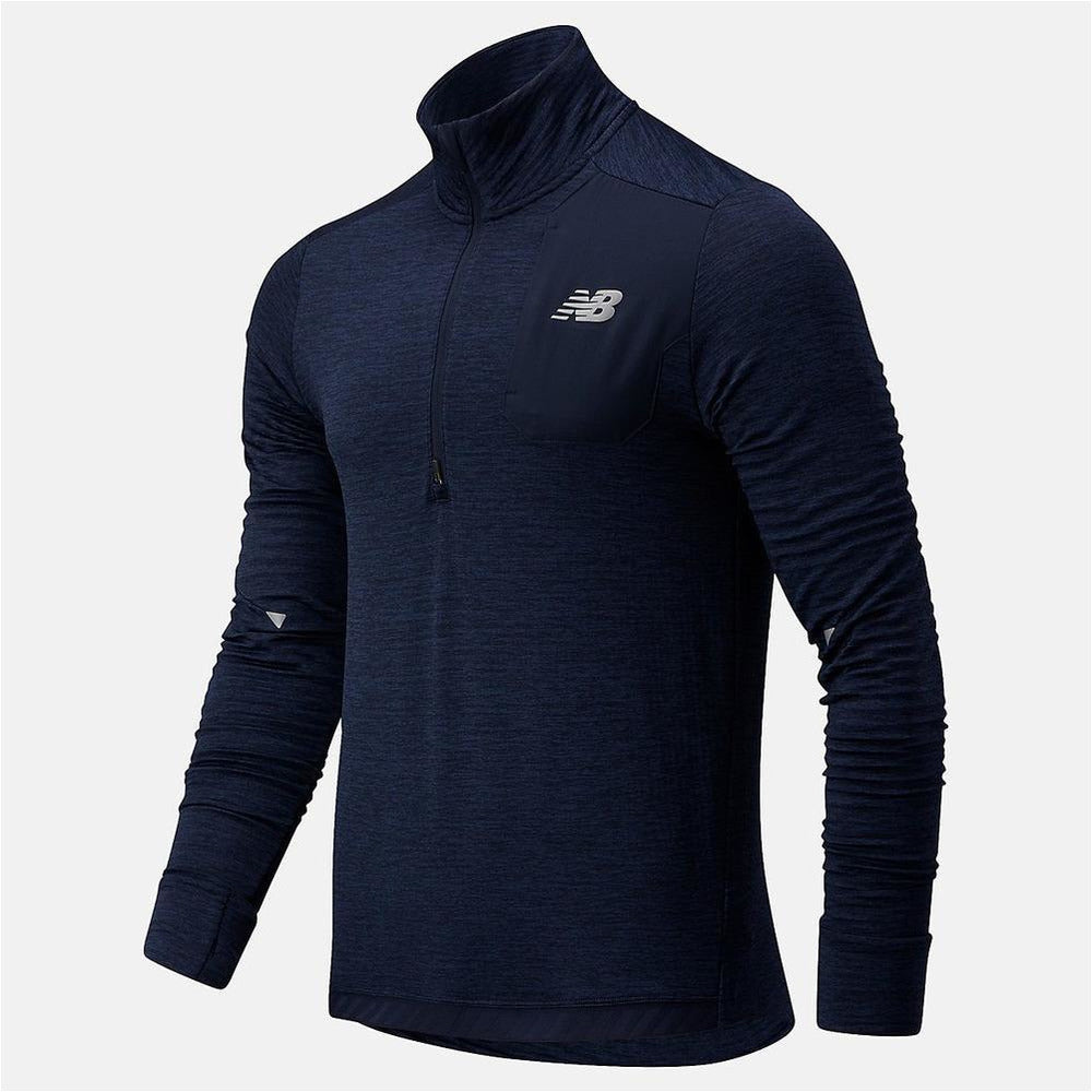 Mens Impact Run Grid Back Half Zip - Eclipse Heather