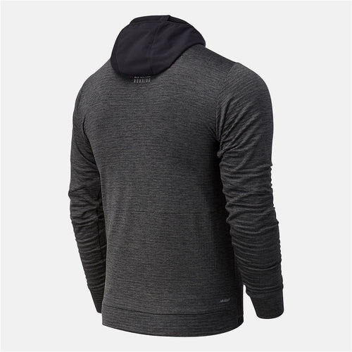 Mens Impact Run Grid Back Hoodie - Black/Grey