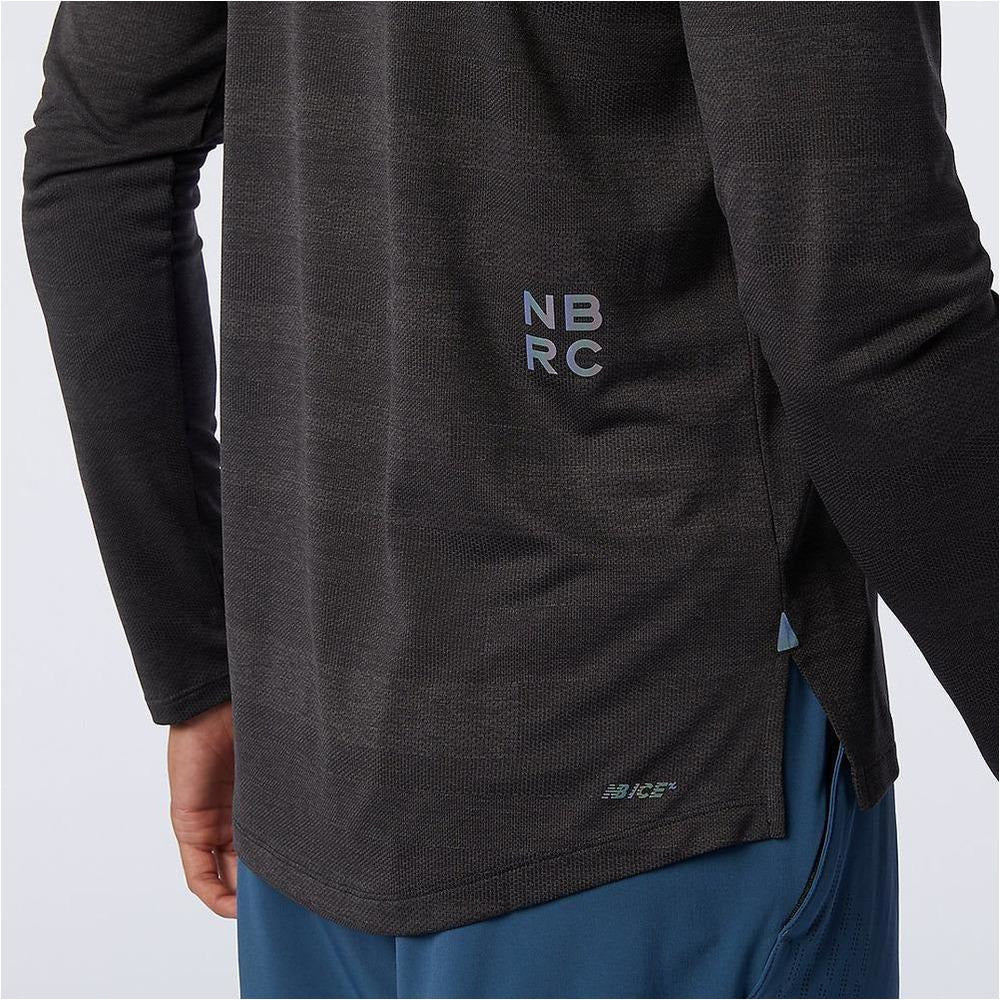 Mens Q Speed Fuel Jacquard Long Sleeve - Black Heather