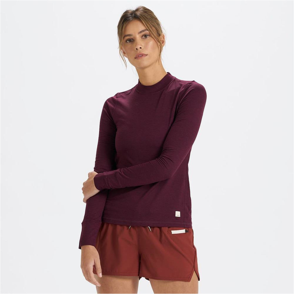 Womens Long-Sleeve Lux Tee - Cerise Heather