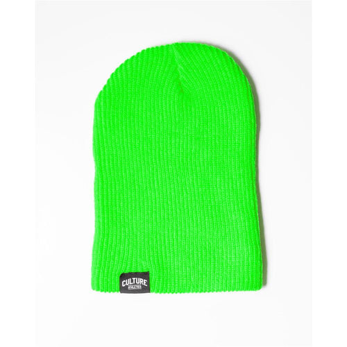 Unisex CA Ribbed Beanie - Neon Lime
