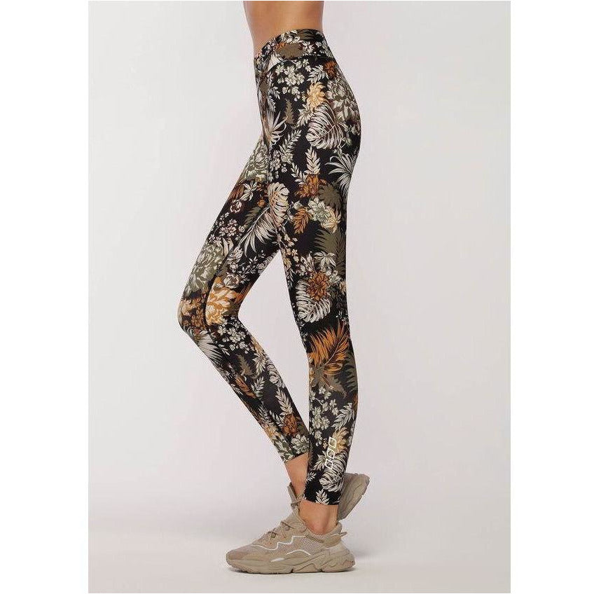 Retro Tropicana Full Length Leggings - Black/Print