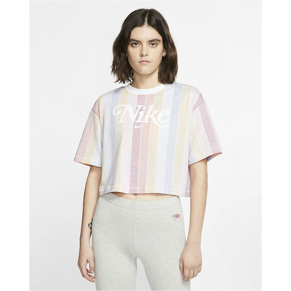 Womens Retro Striped Cropped T-Shirt - White