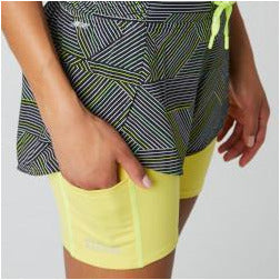 Womens Printed Impact Run 2 In 1 Short - Black/Yellow