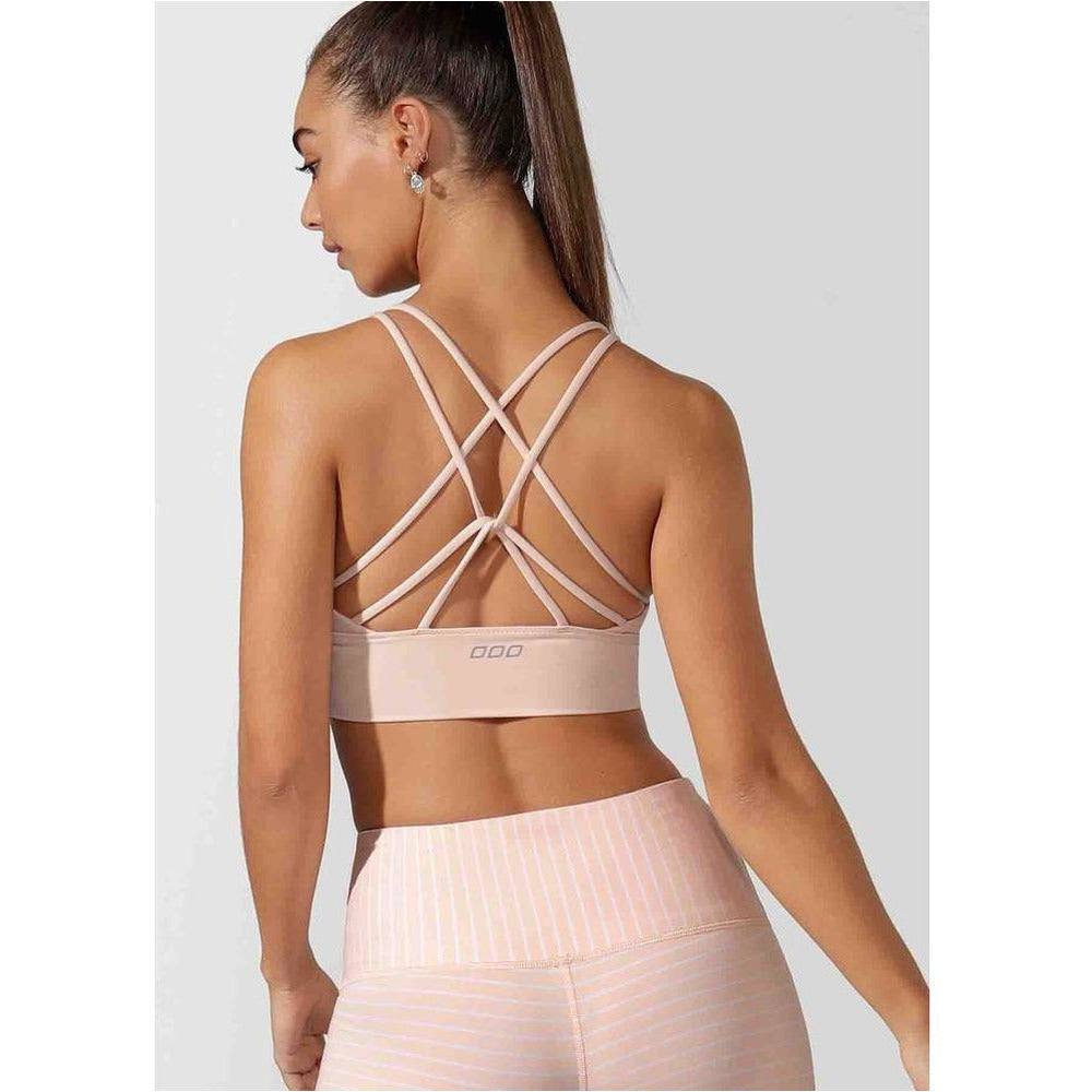 Minimal Long Line Strappy Sports Bra - Petal