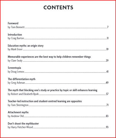 Table of Contents for the researchED Guide to Education Myths