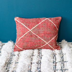 Red Beni Ourain Floor Pillow
