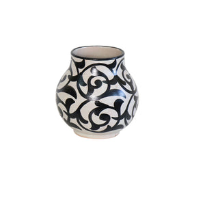 Moroccan Black & White Pottery Vase